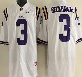 LSU Tigers #3 Odell Beckham Jr. White 2015 College Football Nike Limited Jersey