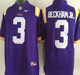 LSU Tigers #3 Odell Beckham Jr. Purple 2015 College Football Nike Limited Jersey