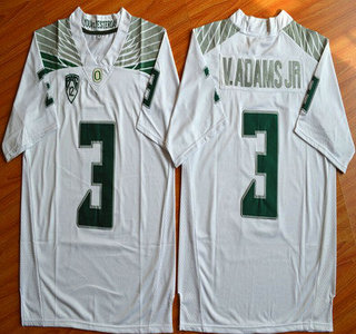 Oregon Duck #3 Vernon Adams Jr White College Football Nike Limited Jersey