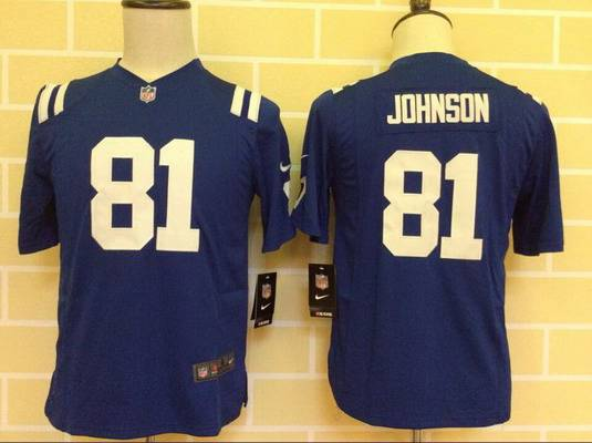 Youth Indianapolis Colts #81 Andre Johnson Nike Blue Game Jersey
