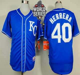 Men's Kansas City Royals #40 Kelvin Herrera KC Blue Alternate Baseball Jersey With 2015 World Series Patch