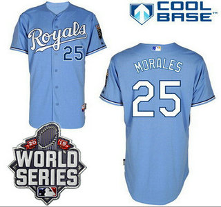 Men's Kansas City Royals #25 Kendrys Morales Light Blue Alternate Baseball Jersey With 2015 World Series Patch