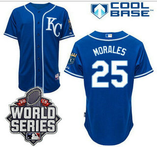 Men's Kansas City Royals #25 Kendrys Morales KC Blue Alternate Baseball Jersey With 2015 World Series Patch