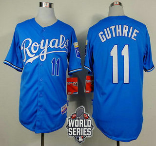 Men's Kansas City Royals #11 Jeremy Guthrie Light Blue Alternate Baseball Jersey With 2015 World Series Patch