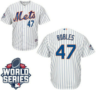New York Mets #47 Hansel Robles Home White Authentic Cool Base Jersey with 2015 World Series Participant Patch
