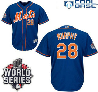 New York Mets 2015 Cool Base #28 Daniel Murphy Alternate Home Blue Orange Jersey with 2015 World Series Patch