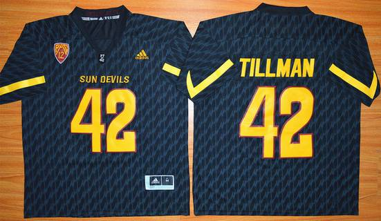 Men's Arizona State Sun Devils #42 Pat Tillman Black Desert Ice 2015 College Football Jersey