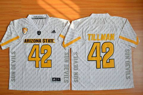 Men's Arizona State Sun Devils #42 Pat Tillman White Desert Ice 2015 College Football Jersey