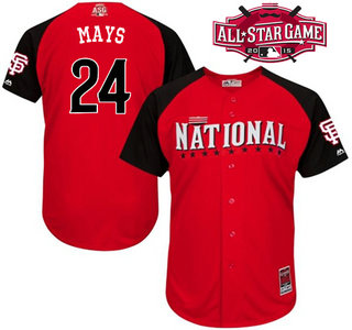 National League San Francisco Giants #24 Willie Mays Red 2015 All-Star Game Player Jersey