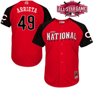 National League Chicago Cubs #49 Jake Arrieta Red 2015 All-Star Game Player Jersey