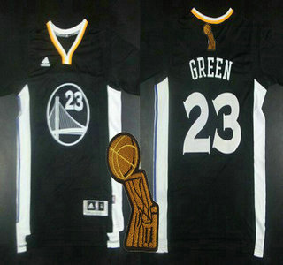 Golden State Warriors #23 Draymond Green Revolution 30 Swingman 2014 New Black Short-Sleeved Jersey With 2015 Finals Champions Patch