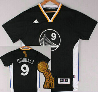 Golden State Warriors #9 Andre Iguodala Revolution 30 Swingman 2014 New Black Short-Sleeved Jersey With 2015 Finals Champions Patch Patch