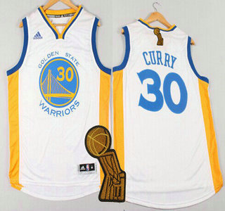 Golden State Warriors #30 Stephen Curry Revolution 30 Swingman 2014 New White Jersey With 2015 Finals Champions Patch