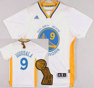 Golden State Warriors #9 Andre Iguodala Revolution 30 Swingman 2014 New White Short-Sleeved Jersey With 2015 Finals Champions Patch