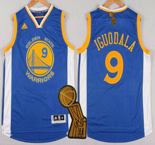 Golden State Warriors #9 Andre Iguodala Revolution 30 Swingman 2014 New Blue Jersey With 2015 Finals Champions Patch