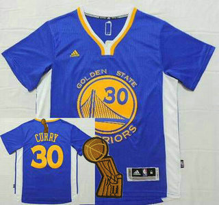 Golden State Warriors #30 Stephen Curry Revolution 30 Swingman 2014 New Blue Short-Sleeved Jersey With 2015 Finals Champions Patch