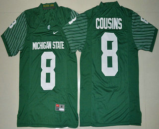 Men's Michigan State Spartans #8 Kirk Cousins Green Limited Stitched College Football 2016 Nike NCAA Jersey
