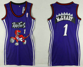 Women's Toronto Raptors #1 Tracy McGrady Purple Dress
