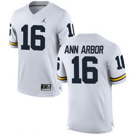 Men's Michigan Wolverines #16 Ann Arbor White Stitched College Football Brand Jordan NCAA Jersey