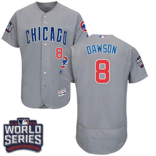 Cubs #8 Andre Dawson Grey Flexbase Authentic Collection Road 2016 World Series Bound Stitched MLB Jersey