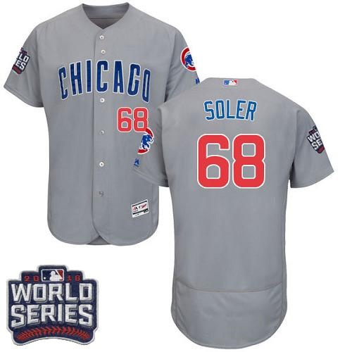 Cubs #68 Jorge Soler Grey Flexbase Authentic Collection Road 2016 World Series Bound Stitched MLB Jersey