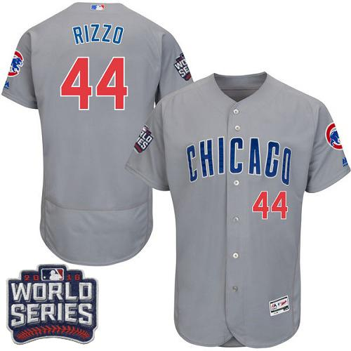 Cubs #44 Anthony Rizzo Grey Flexbase Authentic Collection Road 2016 World Series Bound Stitched MLB Jersey