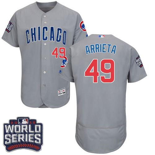 Cubs #49 Jake Arrieta Grey Flexbase Authentic Collection Road 2016 World Series Bound Stitched MLB Jersey