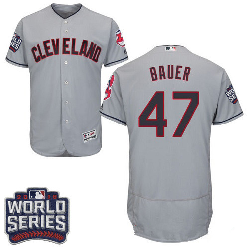 Men's Cleveland Indians #47 Trevor Bauer Gray Road 2016 World Series Patch Stitched MLB Majestic Flex Base Jersey
