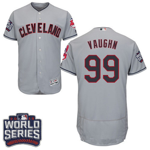 Men's Cleveland Indians #99 Ricky Vaughn Gray Road 2016 World Series Patch Stitched MLB Majestic Flex Base Jersey