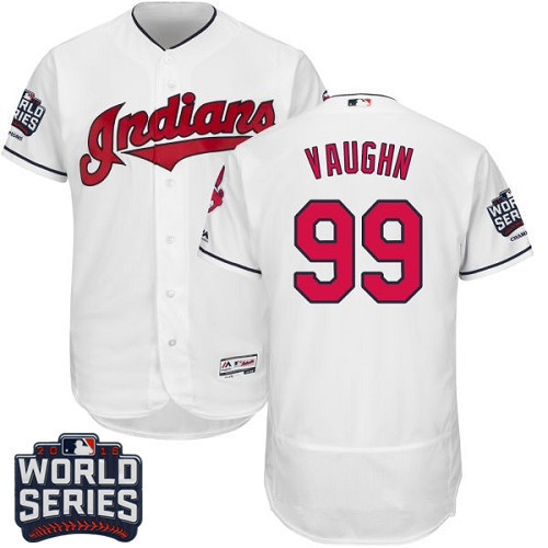 Men's Cleveland Indians #99 Ricky Vaughn White Home 2016 World Series Patch Stitched MLB Majestic Flex Base Jersey