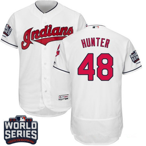 Men's Cleveland Indians #48 Tommy Hunter White Home 2016 World Series Patch Stitched MLB Majestic Flex Base Jersey