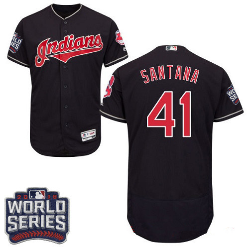 Men's Cleveland Indians #41 Carlos Santana Navy Blue 2016 World Series Patch Stitched MLB Majestic Flex Base Jersey