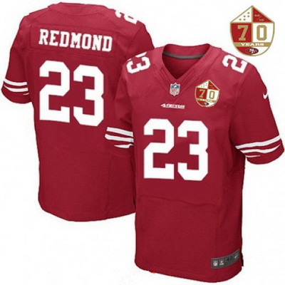 Men's San Francisco 49ers #21 Deion Sanders Scarlet Red 70th Anniversary Patch Stitched NFL Nike Elite Jersey