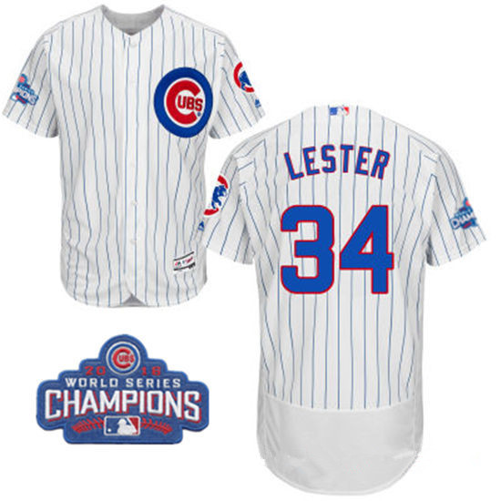 Men's Chicago Cubs #34 Jon Lester White Home Majestic Flex Base 2016 World Series Champions Patch Jersey