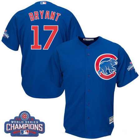 Men's Chicago Cubs #17 Kris Bryant Majestic Royal Blue 2016 World Series Champions Team Logo Patch Player Jersey