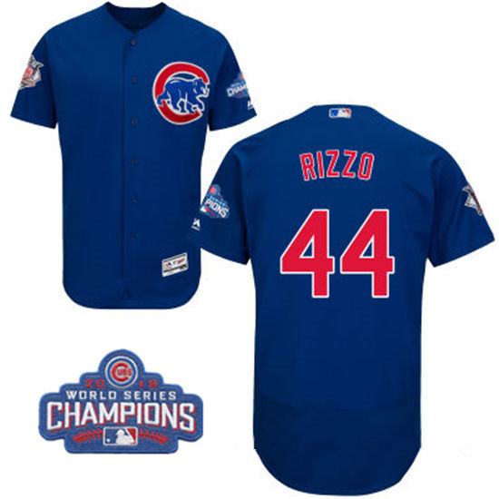 Men's Chicago Cubs #44 Anthony Rizzo Royal Blue Majestic Flex Base 2016 World Series Champions Patch Jersey
