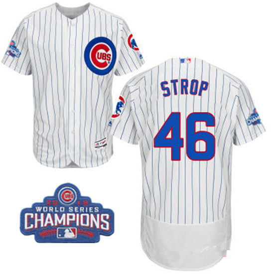 Men's Chicago Cubs #46 Pedro Strop White Home Majestic Flex Base 2016 World Series Champions Patch Jersey