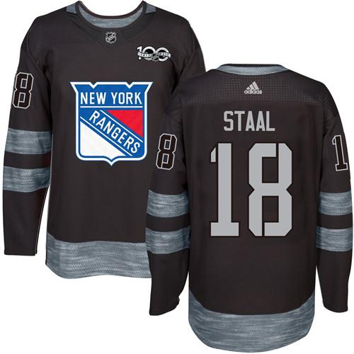 Men's York Rangers #18 Marc Staal Black 1917-2017 100th Anniversary Stitched NHL Jersey