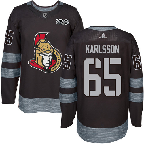 Men's Ottawa Senators #65 Erik Karlsson Black 1917-2017 100th Anniversary Stitched NHL Jersey