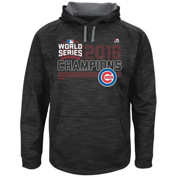 Chicago Cubs Black 2016 World Series Champions Fierce Streak Fleece Men's Pullover Hoodie