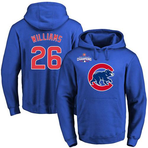 Cubs #26 Billy Williams Blue 2016 World Series Champions Primary Logo Pullover MLB Hoodie