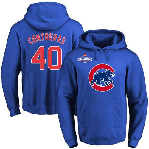 Cubs #40 Willson Contreras Blue 2016 World Series Champions Primary Logo Pullover MLB Hoodie