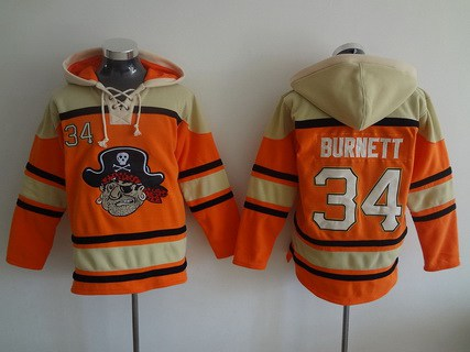 Men's Pittsburgh Pirates #34 A. J. Burnett Orange MLB Baseball Hoodie