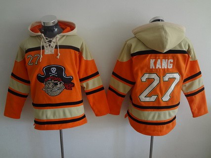 Men's Pittsburgh Pirates #27 Jung-Ho Kang Orange MLB Baseball Hoodie
