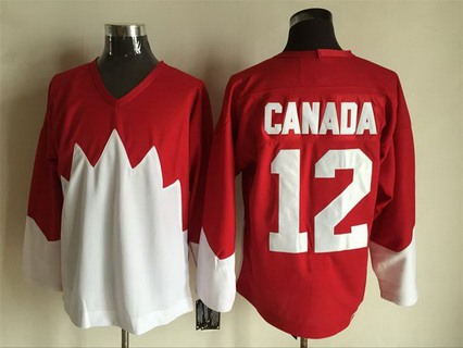Men's Team Canada #12 Canada 1972 CCM Throwback Hockey Red Jersey