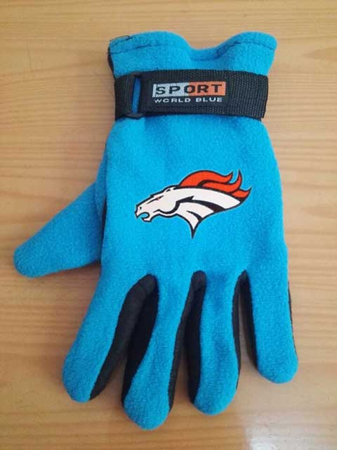 Denver Broncos NFL Adult Winter Warm Gloves Light Blue