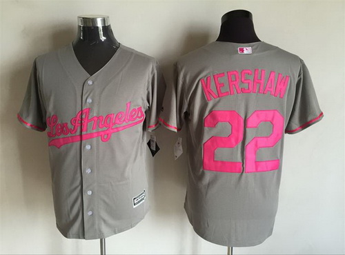 Men's Los Angeles Dodgers #22 Clayton Kershaw Gray With Pink 2016 Mother's Day Baseball Cool Base Jersey