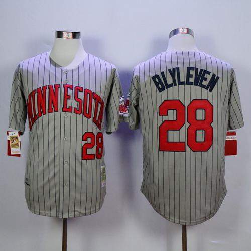 89a40dd5c Men's Minnesota Twins #28 Bert Blyleven Retired 1987 Gray Pinstirpe Mitchell  & Ness Throwback Jersey