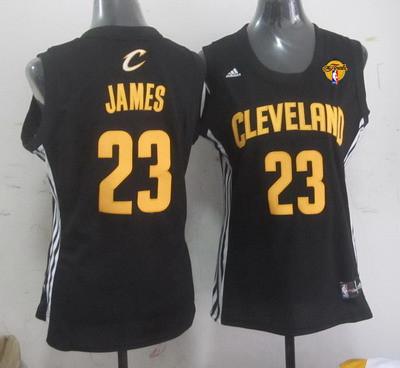 Women's Cleveland Cavaliers #23 LeBron James Black Fashion 2016 The NBA Finals Patch Jersey