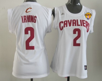 Women's Cleveland Cavaliers #2 Kyrie Irving White 2016 The NBA Finals Patch Jersey